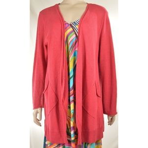 Eileen Fisher sweater cardigan SZ L soft red 100%